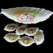 Noritake China Hand painted Yellow Rose Celery Server W/6 Salt Servers