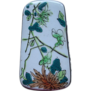 Handcrafted Chinese Snuff Box/ Silver and Porcelain