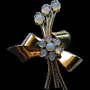 Coro Vermeil Gold Plate Sea Opal (Opalite) Brooch