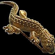 Vintage Gold tone(matte) Gecko Brooch/Pin