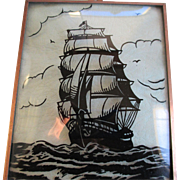 Vintage -Ship- Silhouette /Copper Frame Picture