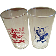 Disney Clarabelle Cow and Donald Duck Juice Glasses Ca.1937-38