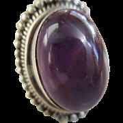 925/Silver Amethyst Cabochon Stone Ring