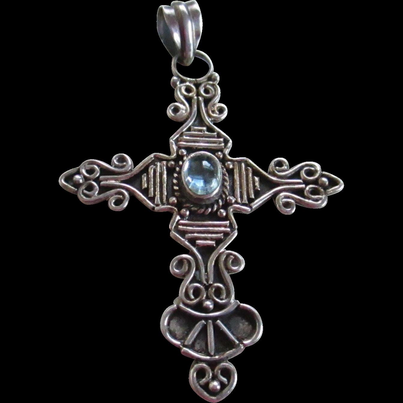 925 silver cross aquamarine pendant from