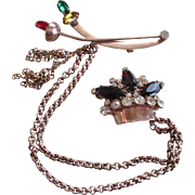 1950's Copper/Rhine Stones-Sweater Clasp/Brooch