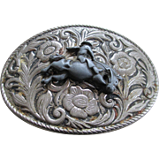 Vintage Nickel Silver Western Oval Belt Buckle