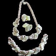 1950-1960s ART  Demi Parure Necklace/Bracelet/ Clip on Earrings Set