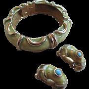 Vintage 1963 KJL-Kenneth Lane Lime Green Bracelet and Clip on Earrings
