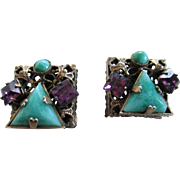 Vintage Pair Turquoise Color/Amethyst Stones Clip on Earrings