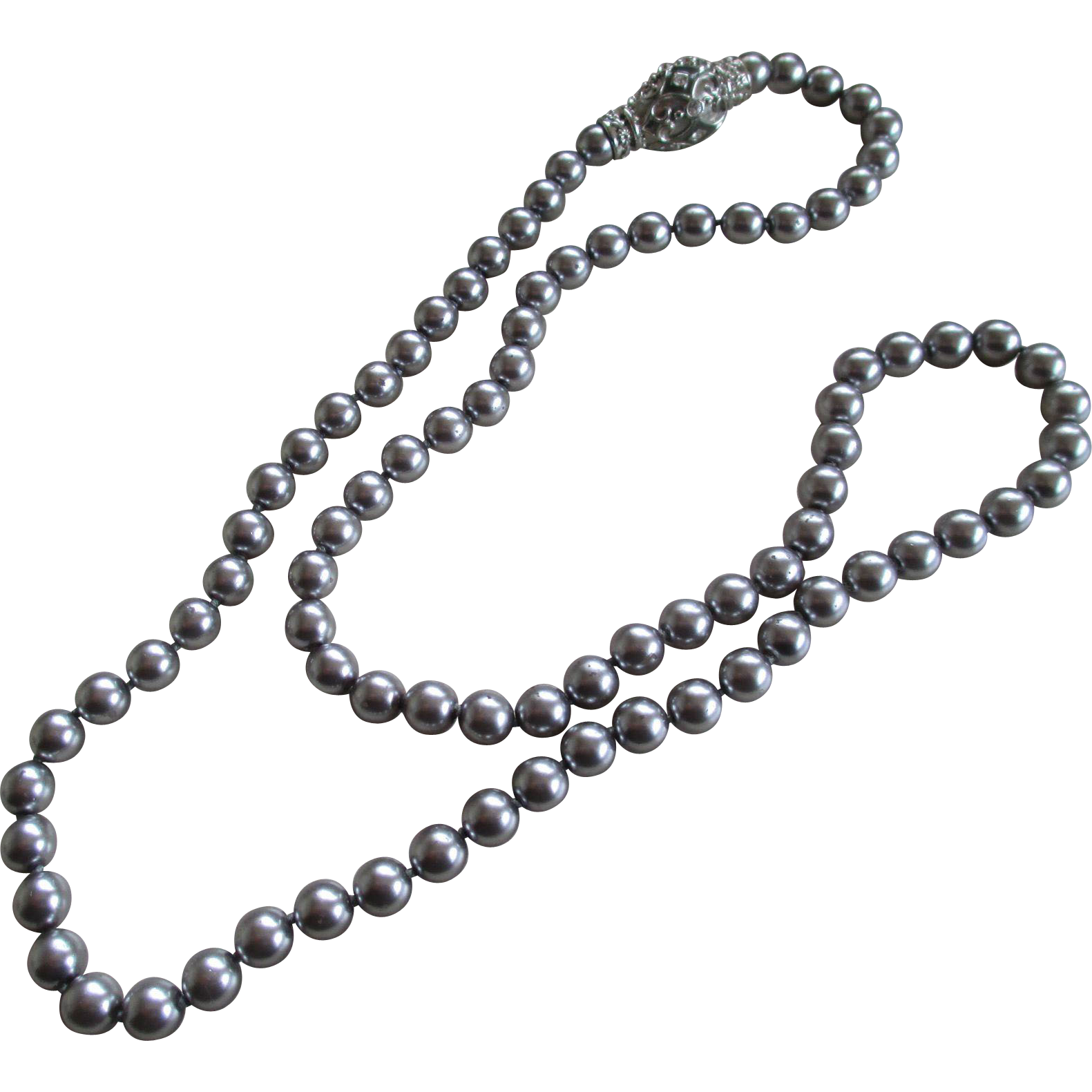 Joan rivers faux silver gray pearls necklace sold on ruby lane for Joan rivers jewelry necklaces