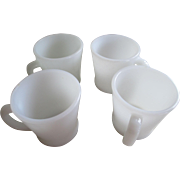 Fire King White Coffee Cup Set of 4-D Handle