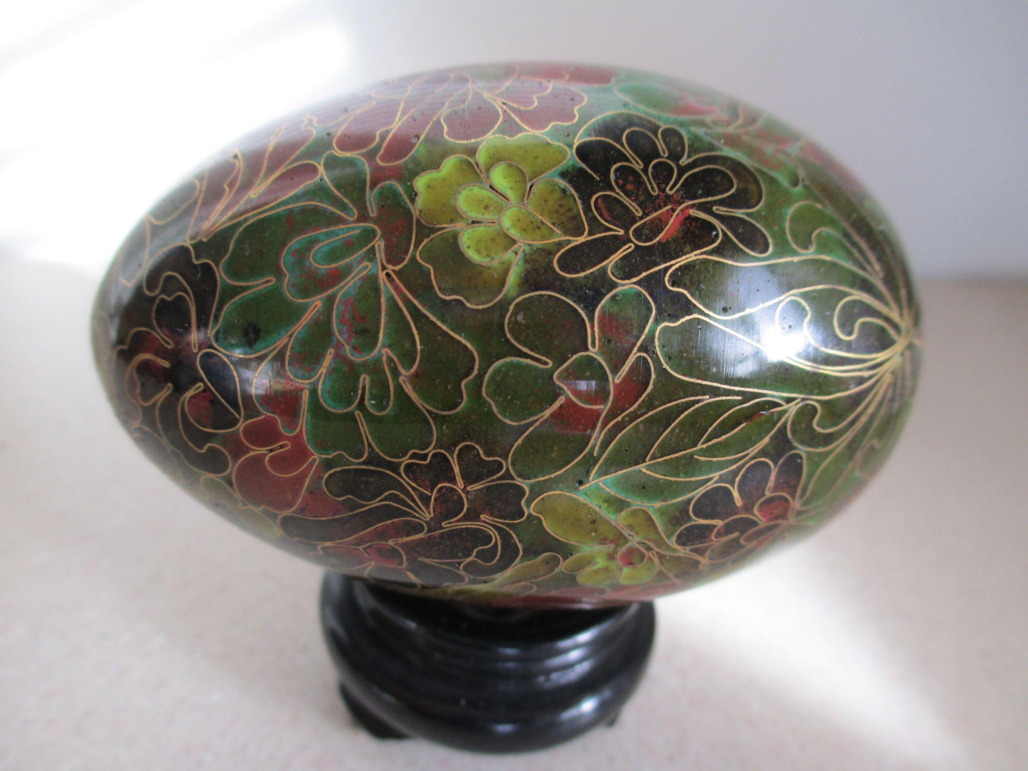 Vintage cloisonne egg with stand from for Cloison stand