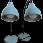 Vintage Pair Veneta Lumi Metal Table Lamps