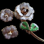 1950s French Hard Enamel Flower Brooch/ Earrings