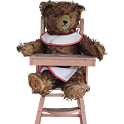 Vintage Mohair Teddy Bear/High Chair
