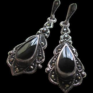 Silver 925 Black Onyx and Hematite Dangle Post Earrings