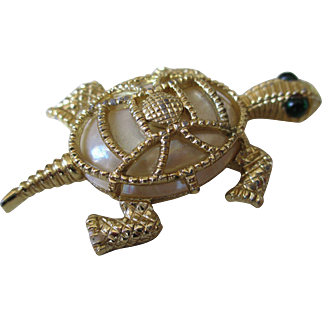 Vintage Green Rhinestone (2) and Faux Mother of Pearl Turtle Pin