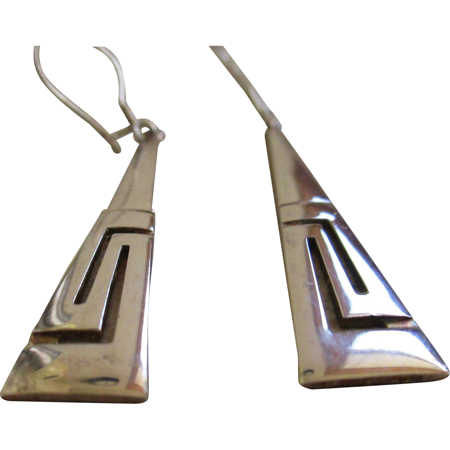 silver 925 triangle elongated dangle wire earrings from silvermoonjewelryandmore on ruby lane. Black Bedroom Furniture Sets. Home Design Ideas