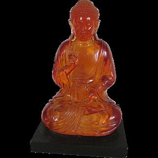 Vintage Amber Resin Sitting Buddha