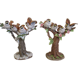 Pair of Porcelain Winter/Spring Chickadee's Figurines