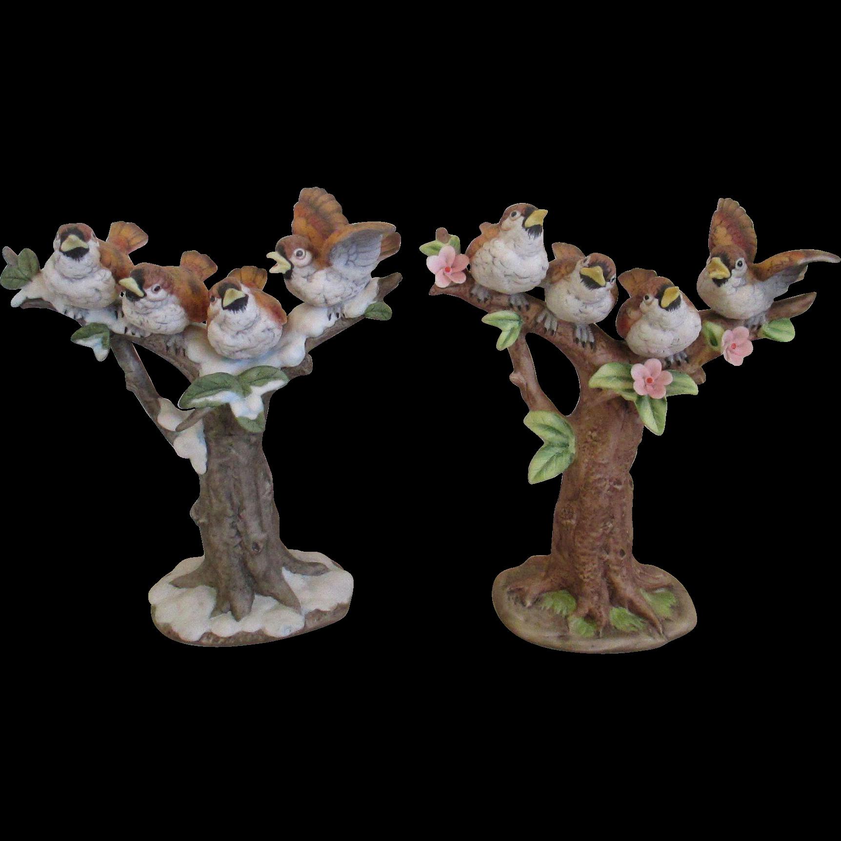 Pair of porcelain winter spring chickadee 39 s figurines from silvermoonjewelryandmore on ruby lane - Chickadee figurine ...