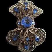 1920s to 1930s Czechoslovakia Blue Rhinestone Brooch