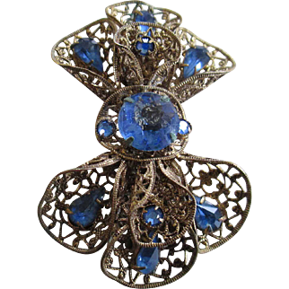 1920s to 1930s Czechoslovakia Blue Rhinestone Brooch