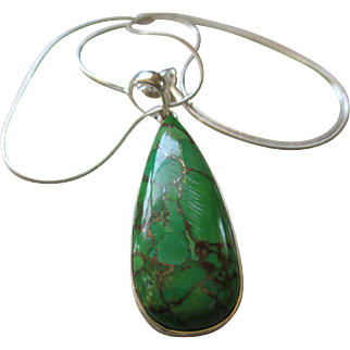Natural Gaspeite /925 Silver Tear Drop Necklace.