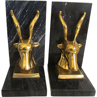 Onyx/Brass Gazelles Book Ends