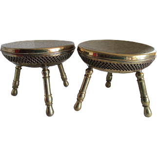 1950s Asian Pair of Brass Drum Topped Stools