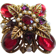 "Vintage ""ART""Red Cabochon/Faux Pearl Brooch"