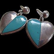 Silver 925/Turquoise Taxco  Heart Post Earrings