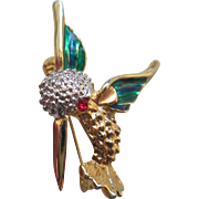 Vintage Enamel/Rhinestone Hummingbird Pin
