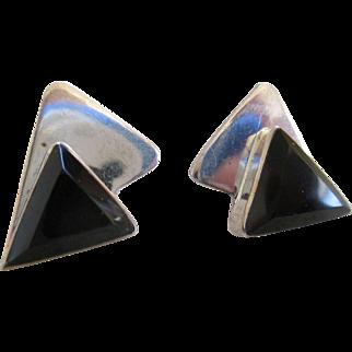 Vintage 925/Sterling/Onyx Post Earrings