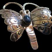 Sterling 925 Silver/Lapis Butterfly Brooch