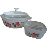 Fireking/Peach Blossom Casserole and Refrigerator Dish
