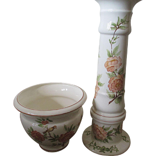 "Hand Painted Plant and Stand  ""Jardiniere"" Set"