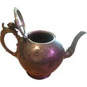 """Shaw & Fisher Sheffield Pewter Antique Teapot 1525 Several Dents As Shown In Pictures 7 1/4""""-H 10 1/4""""-L 6""""-W"""