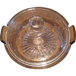 """Duncan Miller Canterbury Divided Lidded Etched Butterfly & Flower Dish 4""""-H 5 1/2""""-W"""