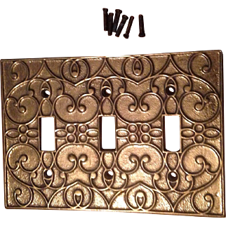 "Virginia Metalcrafters Florentine 3 Slot Switchplate Cover With Screws 6 3/8""-L  4 1/2""-W"