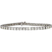 "Vintage Estate 7.96ct t.w. Diamond Tennis Bracelet 7.25"" 14k White Gold"