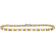 Vintage Diamond Tennis Bracelet 5ct t.w. Estate White Fancy Intense Yellow Orange Line Bracelet 18k Gold Platinum