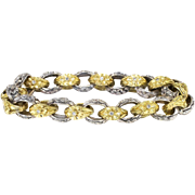Gorgeous Rare 1950's .10ct t.w. Diamond Two Tone Solid Floral Chased Repousse' Bracelet 14k