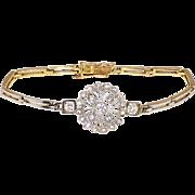 Antique Art Nouveau 1900's .65ct t.w. Old European Cut & Rose Cut Diamond Bracelet Platinum 14k