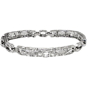 Vintage Antique Edwardian 1920's 5.22ct t.w. Old European Cut Trilliant Cut Diamond Filigree Bracelet Platinum