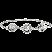 Vintage Edwardian 1920's Old European Cut & Single Cut Diamond Link Bracelet Platinum