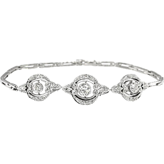 Vintage Edwardian 1920's Old European Cut & Single Cut Diamond Tennis Line Cuff Bracelet Platinum