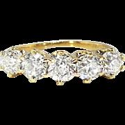 Art Nouveau Antique 1900's Old European Cut Diamond Five Stone Anniversary Ring 18k Yellow Gold