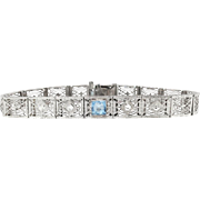 "Art Deco 1930's Vintage Aquamarine Diamond Filigree Bracelet 14k White Gold 6.75"" Inches Long"