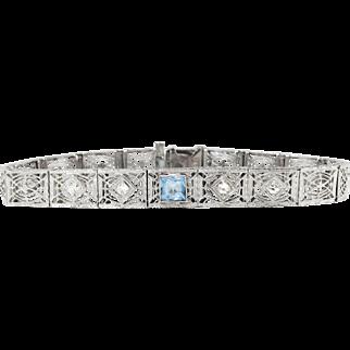 "Art Deco 1930's Vintage Aquamarine Diamond Filigree Bracelet 14k White Gold 6.75"" Inches Long"